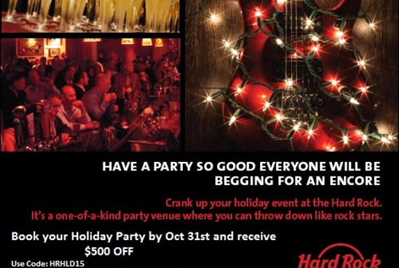 $500 off your Corporate or Private Holiday Party