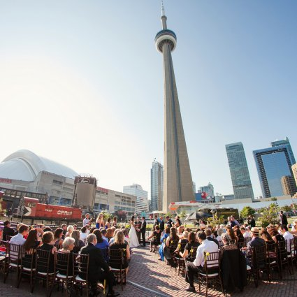 Your Occasions Marriage Officiants featured in Modern, Urban, Romantic Bliss at Steam Whistle Brewery