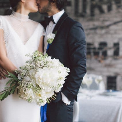 Vera Wang featured in A Stunning Modern White and Blue Styled Shoot at The Burroughes