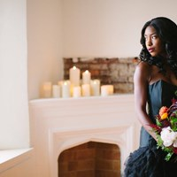 An Elegant Black Wedding Gown Inspired Stylized Shoot