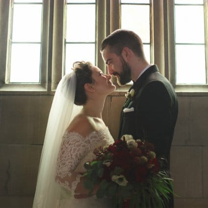Amanda-Lina's Sposa Bridal Boutique featured in Melanie and Martyn's Enchanting Winter Wedding at Knox Colleg…