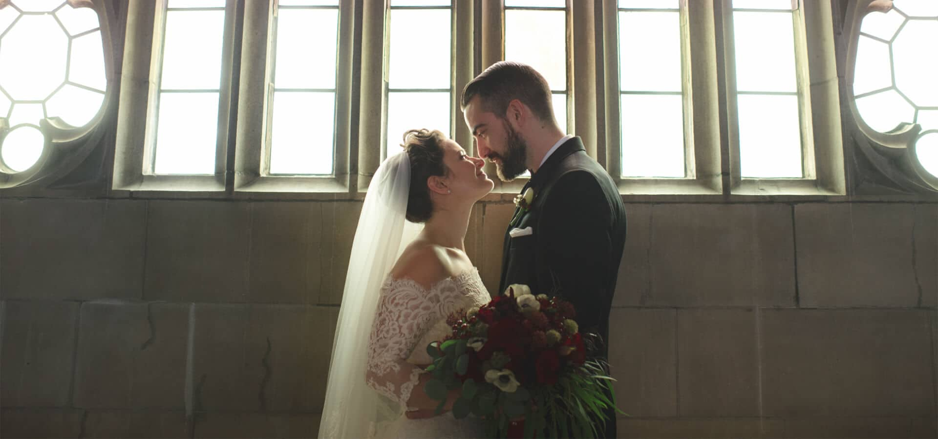 Hero image for Melanie and Martyn's Enchanting Winter Wedding at Knox College and Casa Loma