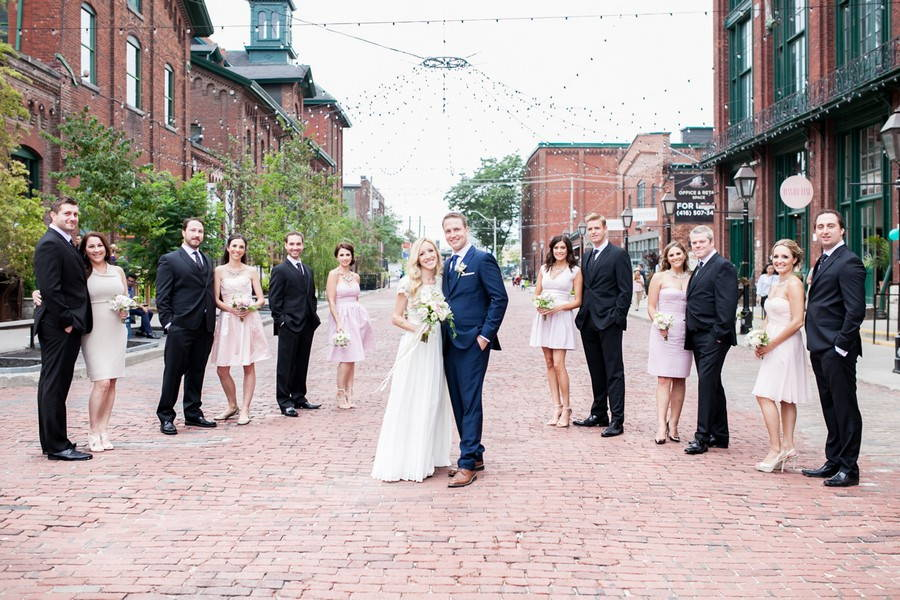 wedding party in the distillery district