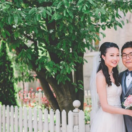 The One Bridal featured in Jenny and Alex's Super Sweet Wedding at Auberge du Pommier