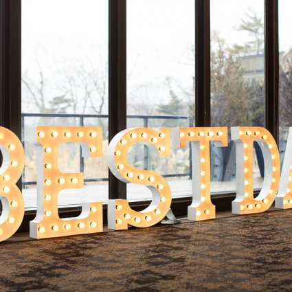 Moonrise Letter Lights featured in The Credit Valley Golf and Country Club Ballroom Open House