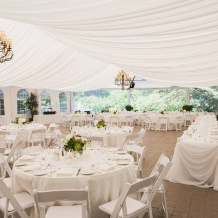 Annie Lane Events and Decor featured in Ashley and Jeffrey's White-and-Blush Wedding at Nestleton Wat…