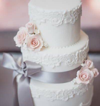 A Cake Story featured in Cecilia and Raymond's Pretty Pink and Gray Wedding at The Hil…