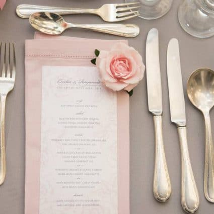 Ferris Wheel Press featured in Cecilia and Raymond's Pretty Pink and Gray Wedding at The Hil…