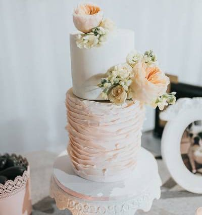 Bloom Cake Co. featured in Jenn and Kevin's Rustically Elegant Wedding at York Mills Gal…