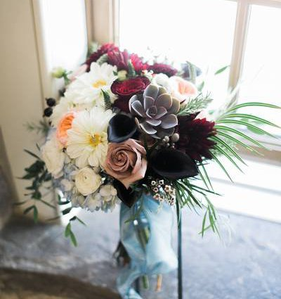 Opening Night Flowers featured in Ashley and Brian's Intimate Wedding at Ancaster Mill