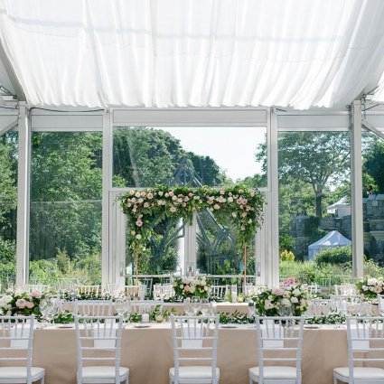 All Seasons Weddings featured in Lauren and Sacha's Beautiful Wedding in the Glass Pavilion at…