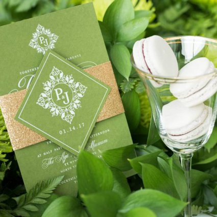 Whim Event Planning & Design featured in A Stunning Green-and-Gold Style Shoot at Aga Khan Museum