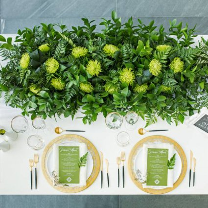 Princess Decor featured in A Stunning Green-and-Gold Style Shoot at Aga Khan Museum