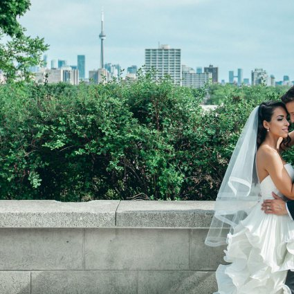Veriation Music featured in Laura and Tomas' All White Wedding in Casa Loma's Glass Pavilion