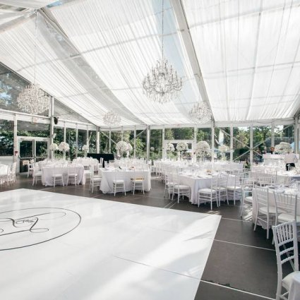 FOS Rental Group featured in Laura and Tomas' All White Wedding in Casa Loma's Glass Pavilion