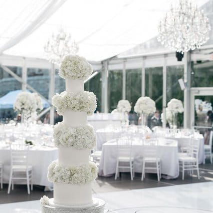 Fruitilicious Cakes featured in Laura and Tomas' All White Wedding in Casa Loma's Glass Pavilion