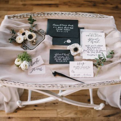 Quill & Oak featured in Style Shoot: A Sultry Industrial Garden Romance