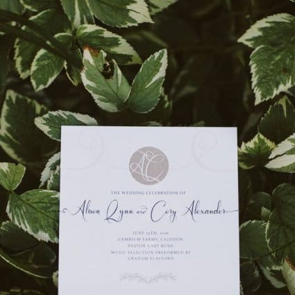 Alison Gordon Studio featured in Ali and Cory's Rustically Chic Wedding at Cambium Farms