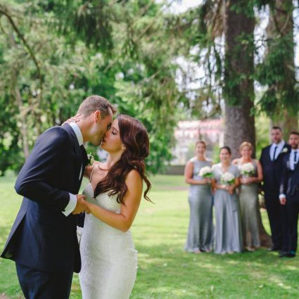 Whistle Bear Golf Club featured in Lesley and Tyler's Rose Gold Rustic Wedding at Whistle Bear G…