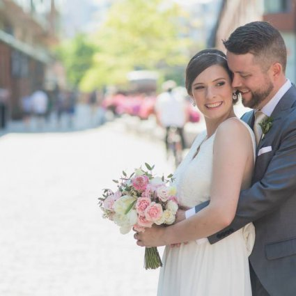 KJ & Co. featured in Marie-Pierre and Stefan's Distillery Wedding at Airship37