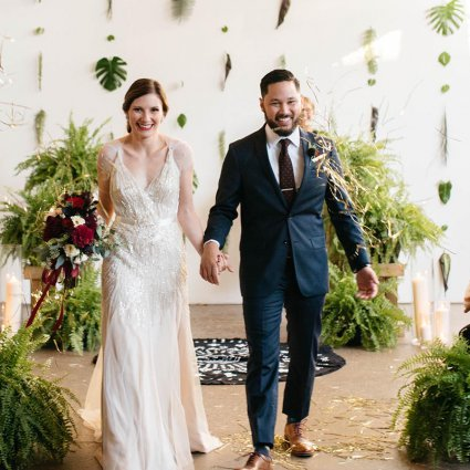 Patchouli Floral Design featured in Amanda and Markus' Urban Jungle Wedding at Airship 37