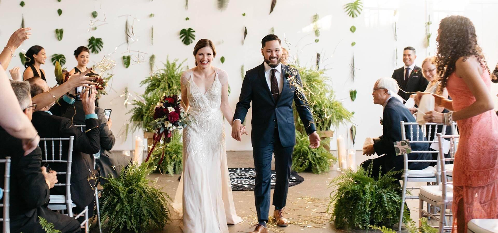 Hero image for Amanda and Markus' Urban Jungle Wedding at Airship 37