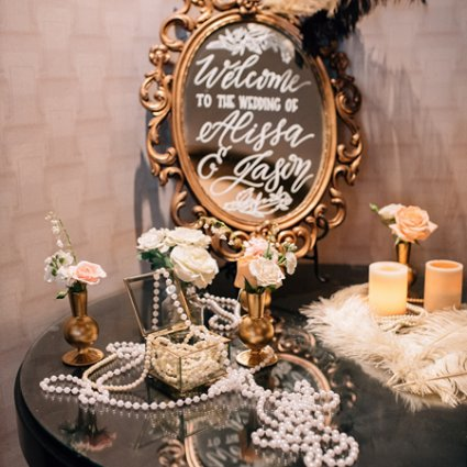 Mandy Calligraphy featured in Alissa and Jason's Elegant Gatsby Wedding at Eglinton Grand