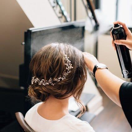 Bridezilla Beauty featured in Alissa and Jason's Elegant Gatsby Wedding at Eglinton Grand