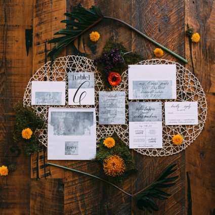 Defining Moments Stationery featured in Boho Chic, Eco-Friendly Style Shoot: Cemented in Love