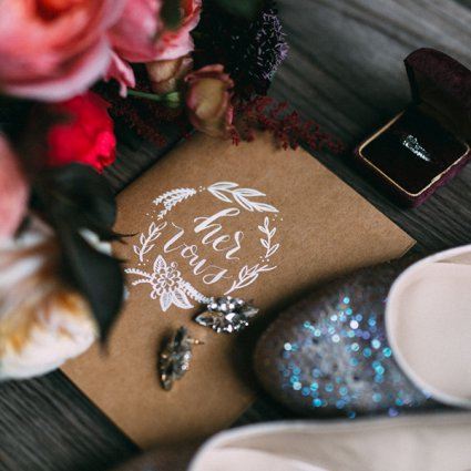 Cabin Calligraphy featured in Ashton and Clayton's Romantic Wedding at Oast House Brewery
