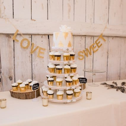 The Sweetest Thing Cakes featured in Kalie & Jon's Rustic Wedding at Rainbow Valley Wedding Barn
