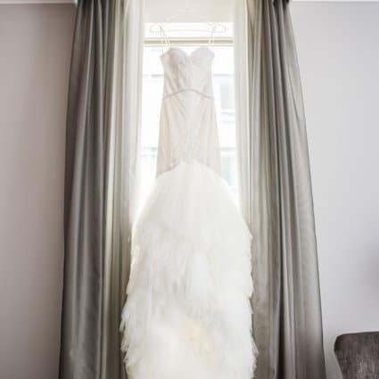 Dina Alonzi Bridal featured in Rachel and Jeff's Luxe Wedding at the King Edward Hotel