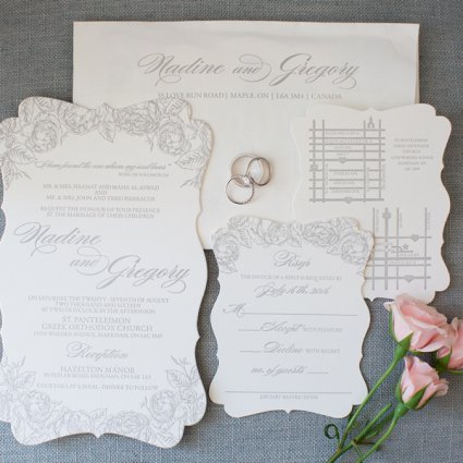 Paper Damsels featured in Nadine and Greg's Classically Elegant Wedding at Hazelton Manor
