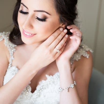 Hair by Ladylyn featured in Nadine and Greg's Classically Elegant Wedding at Hazelton Manor