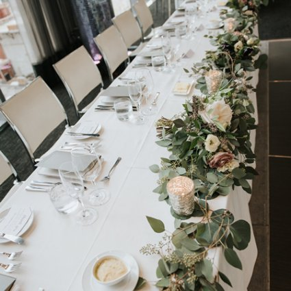Champagne & Cedar featured in Lisa and Jeff's Elegant Rooftop Wedding at Malaparte