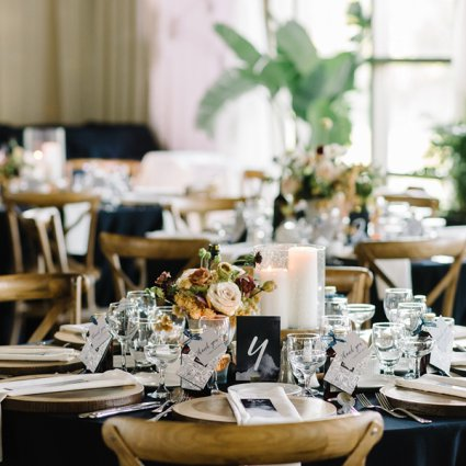 Contemporary Furniture Rentals featured in Cristina and Steve's Rustic Wedding at The Royal Ambassador