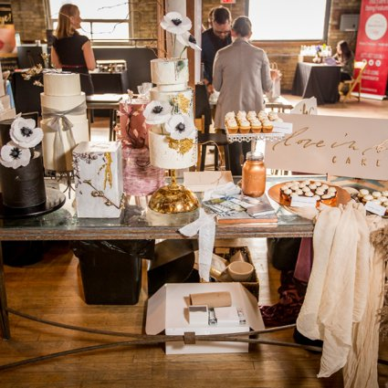 Love in Bloom Cakes featured in A Trendy Retro-Rustic Wedding Open House at The Jam Factory