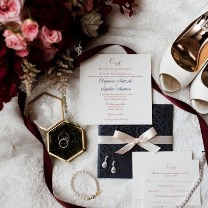 Stephita Invitations featured in Cheyanne and Stephen's Rustically Warm Wedding at the Ferment…