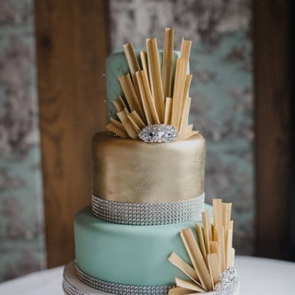 Cake Box featured in Christin and Tyler's Intimate '20s Themed Wedding at Cluny Bi…