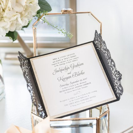 The Polka Dot Paper Shop featured in Jackie and Keegan's Elegant King Edward Hotel Wedding
