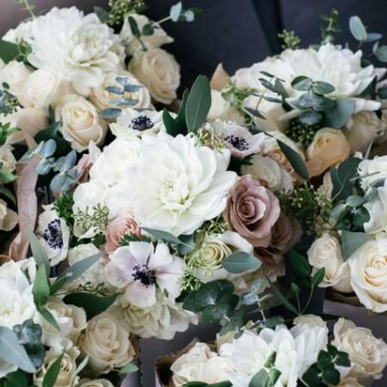 Blooming Floral Design featured in Carolina and Brian's City Chic Wedding at The Burroughes