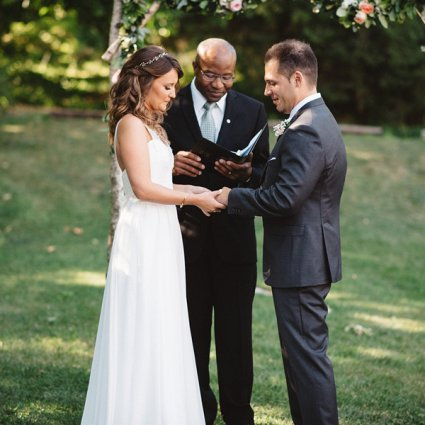 Garry Francis Officiating Service featured in Julia and Josh's Relaxed Wedding at Alton Mill Arts Centre