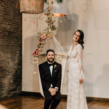 Dina Alonzi Bridal featured in Sarah and Mike's Boho Chic Wedding at 99 Sudbury
