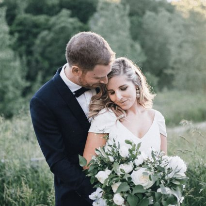 Eric Frank Cinema featured in Karla and Kevin's Romantic Wedding at Evergreen Brick Works