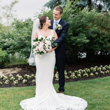 Amanda-Lina's Sposa Bridal Boutique featured in Heather and Greg's Intimate Wedding at the Piper's Heath Golf…