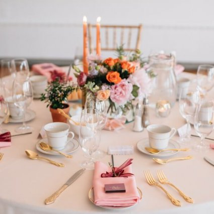 Periwinkle Flowers featured in Margo and Jacob's Sweet Wedding at The Henley Room
