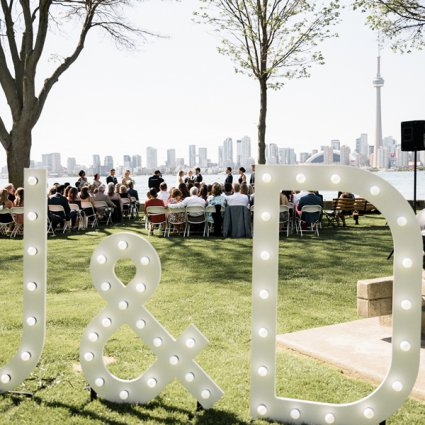 Ampersand Marquee Letters featured in Julie and Darren's Perfect Summer Wedding at the Royal Canadi…