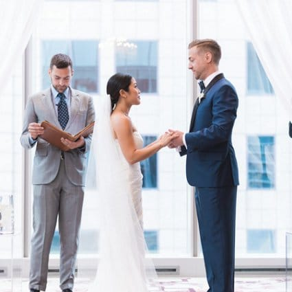 Jonny Belinko Wedding Officiant featured in Tera and Michael's Classically Beautiful Wedding at the Shang…