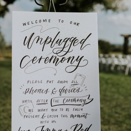 Cabin Calligraphy featured in Jemma and Red's Romantic Earth To Table Farm Wedding