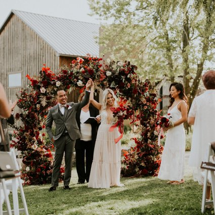 Patchouli Floral Design featured in Jemma and Red's Romantic Earth To Table Farm Wedding